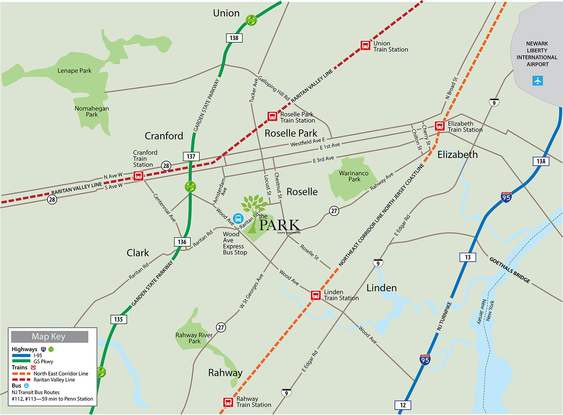 Located in Roselle NJ, The Park apartments have easy access to New York City.